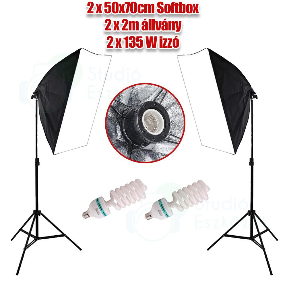 Kit Softbox 2x135W, cu stativ 2x2m
