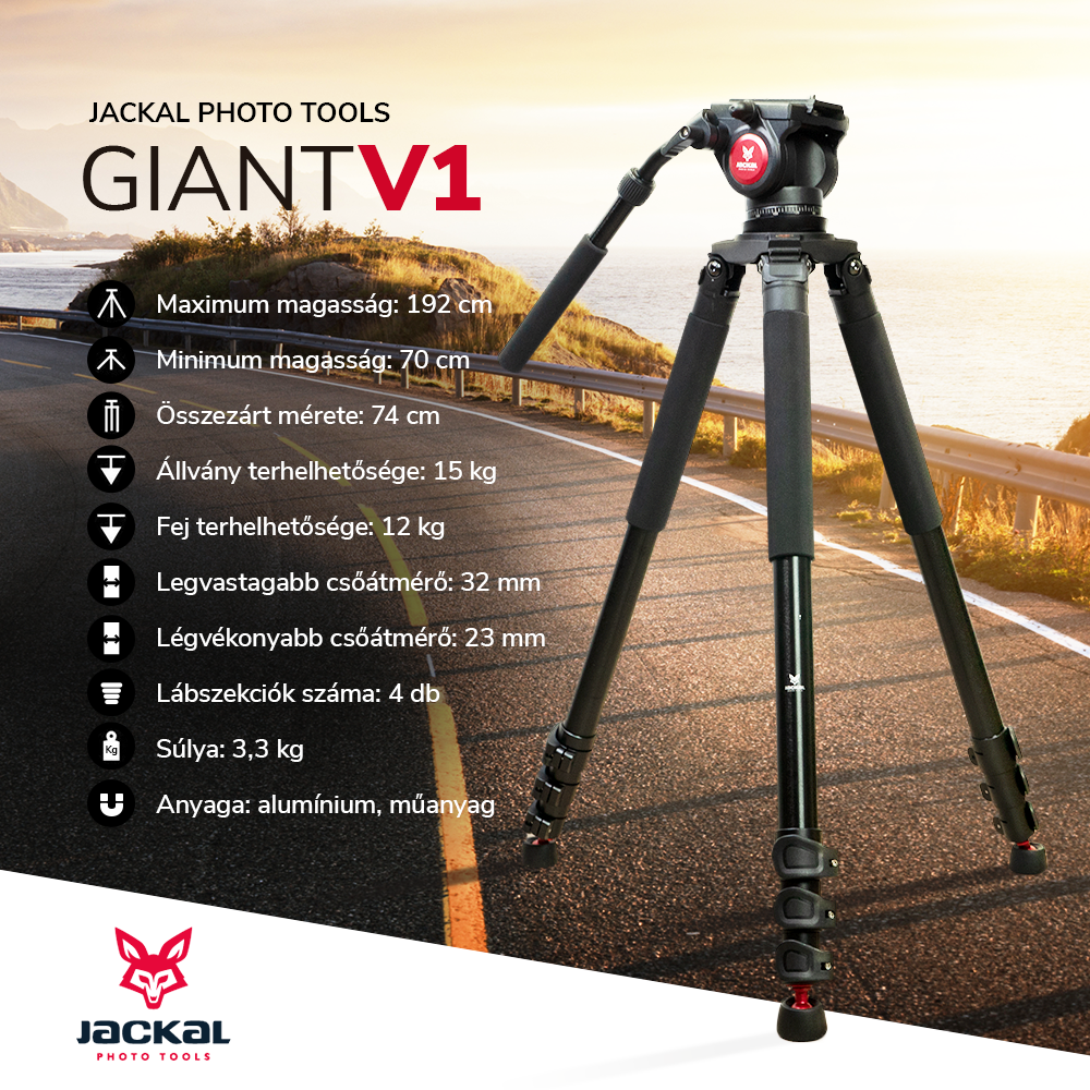 Jackal Giant V1 trepied foto video cu cap fluid (192cm)