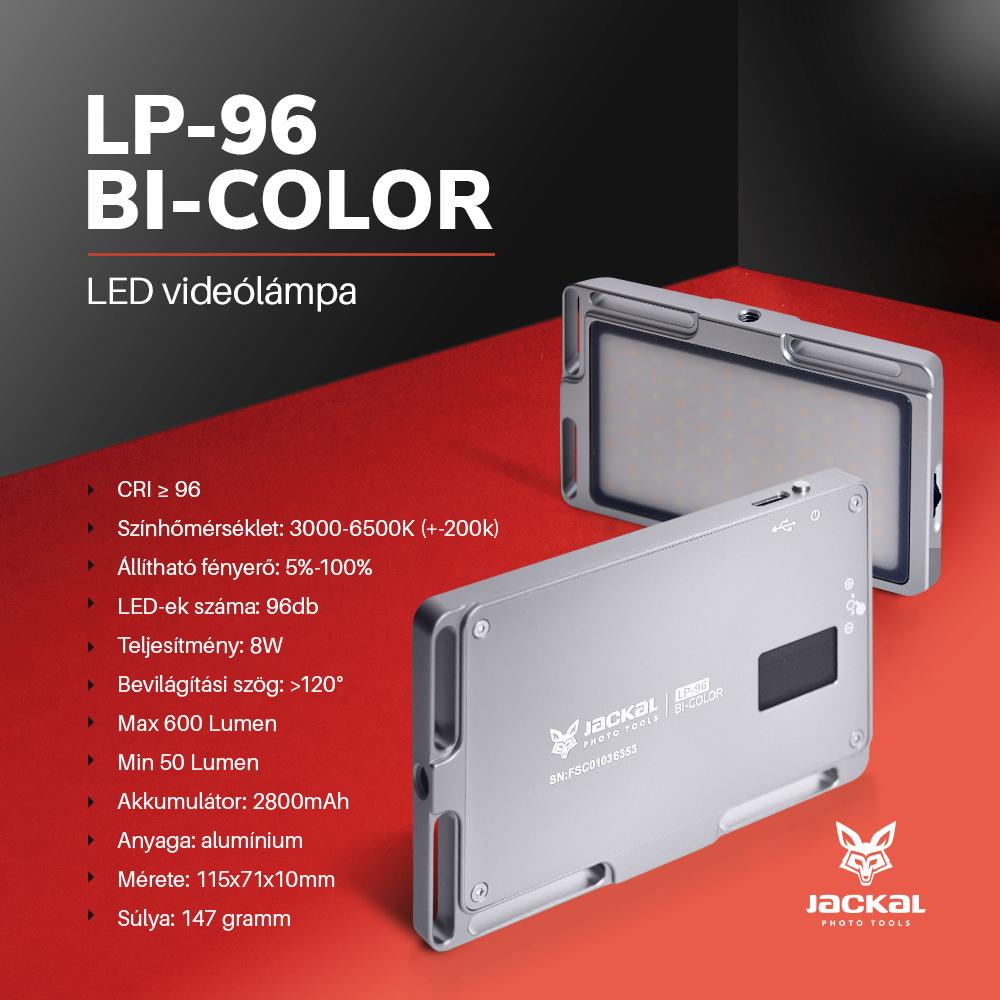 Jackal LP-96 Bi-Color lampa video LED 3000-6500K gri