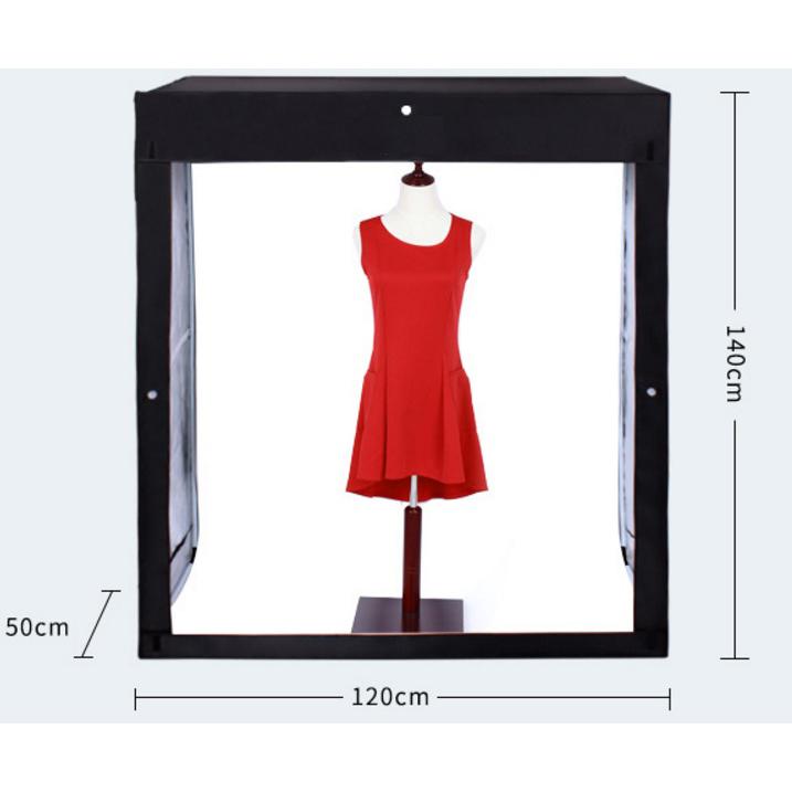 Cort pentru fotografie de produs 120x50x140cm,cu 3 fundaluri,200W LED