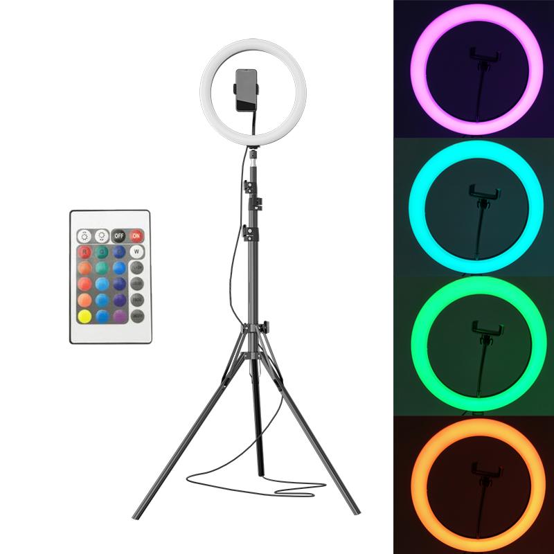 Lampa circulara 30cm LED RGB, ring light,cu stativ 2m