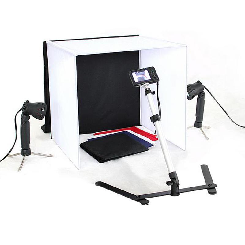 Cub foto 60x60x60cm cu lumini 2x8W LED cu 4 fundaluri