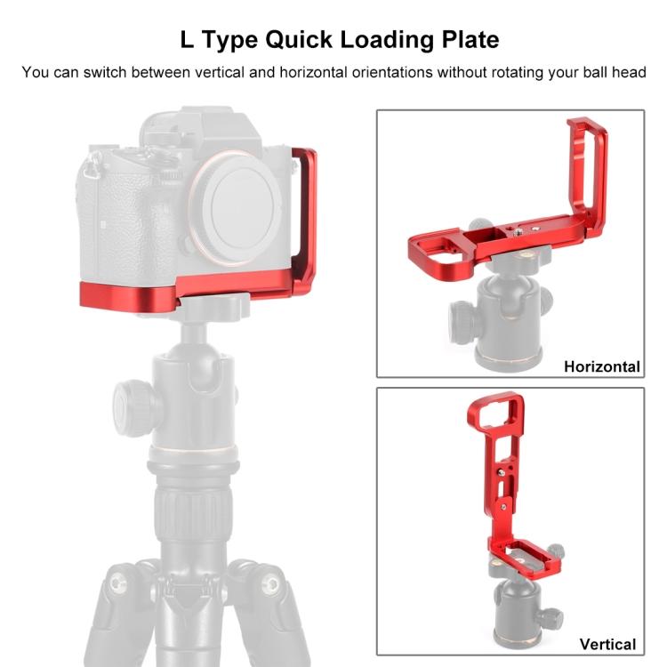 PULUZ L bracket,placuta verticala L-type pentru Sony A9 (ILCE-9) / A7 III / A7R III,rosu (PU3541R)