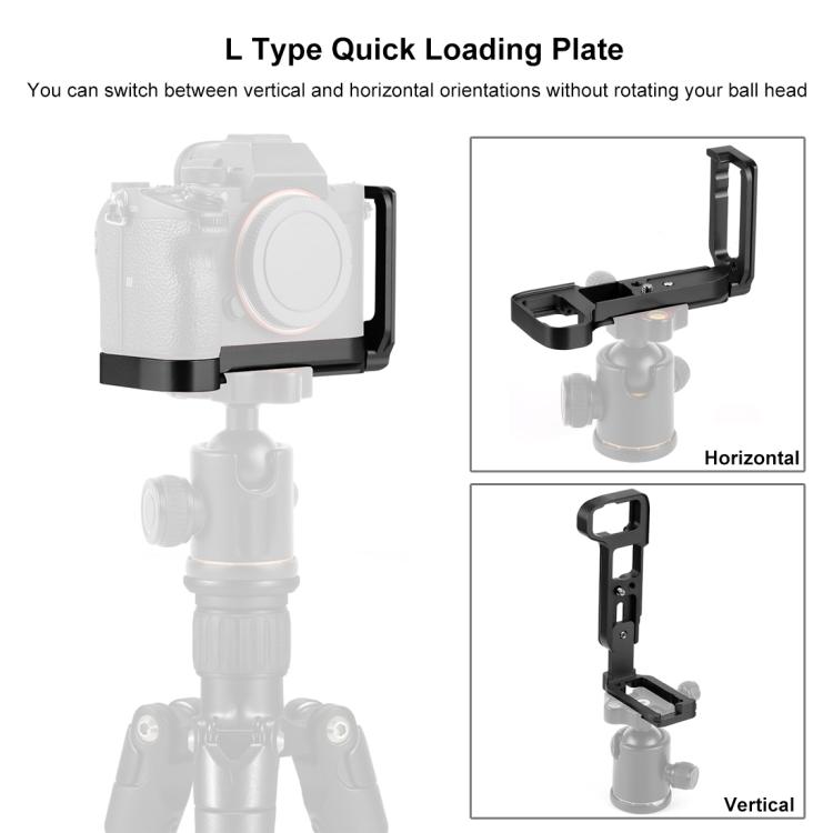 PULUZ L bracket,placuta verticala L-type pentru Sony A9 (ILCE-9) / A7 III / A7R III,negru (PU3541B)