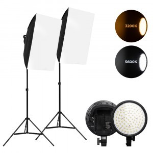 Kit Softbox 48W LED 3200-5600K cu stativ 2m si slot pt acumulator NP-F