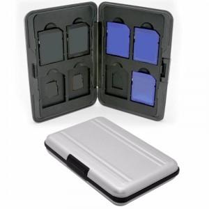 Cutie rigida pentru carduri de memorie,aluminiu,negru/argintiu